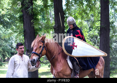 Nis, Serbia - June 10, 2018: Medieval Knight with armor and shield on brown horse and horseman in forest. Middle ages concept - Stock Photo