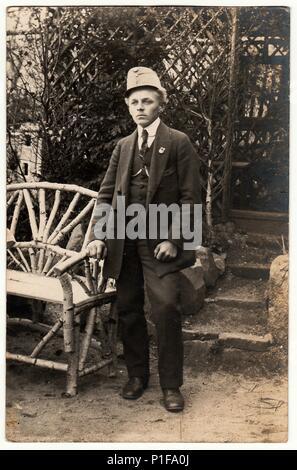 THE CZECHOSLOVAK REPUBLIC - CIRCA 1930s: Vintage photo shows man outdoors. Black & white studio portrait. - Stock Photo