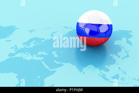 3d illustration. Soccer ball with Russia flag on the map. Sports concept. - Stock Photo