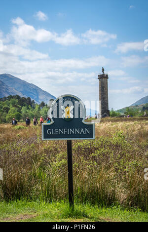 Glenfinnan Monument sign. In tribute to the Jacobite clansmen who fought and died in the cause of Prince Charles Edward Stuart. - Stock Photo