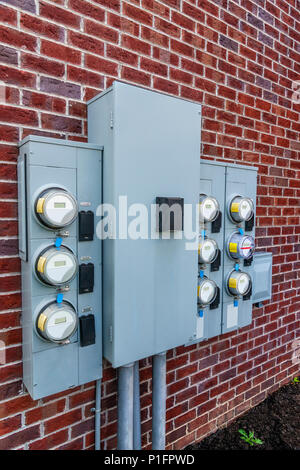 old apartment fuse box electric meters hanging outside the power    box    stock photo  electric meters hanging outside the power    box    stock photo