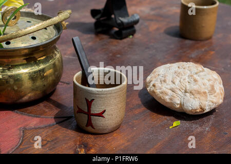 medieval stone wall drink dark bread ages middle food natural background texture brown alamy desk wooden cup