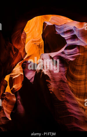 Abstract formation in upper Antelope canyon slot canyon on Navajo land outside of Page, Arizona. - Stock Photo