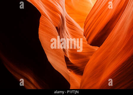 Abstract formation in lower Antelope canyon slot canyon on Navajo land outside of Page, Arizona. - Stock Photo