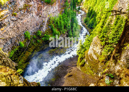 Spahats Creek flowing through the lava bed  canyon right after the Spahats Falls in Wells Gray Provincial Park at Clearwater, British Columbia, Canada - Stock Photo