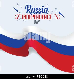 3D Realistic Russian flag waving wind vector - Stock Photo