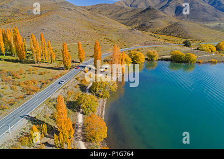 Highway and Alps 2 Ocean Cycle Trail, and Lake Benmore, Waitaki Valley, North Otago, South Island, New Zealand - drone aerial
