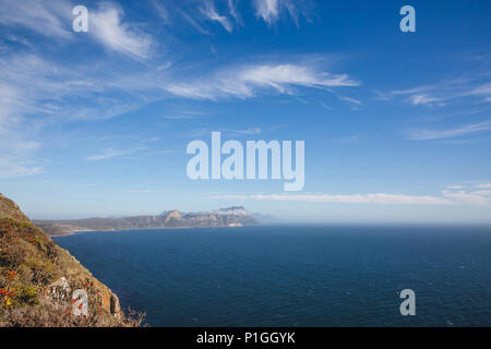 View of False Bay from Cape Point on summer's day - Stock Photo