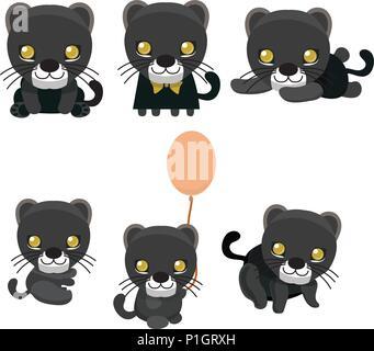 Black panther set. Isolated on white vector illustration. - Stock Photo