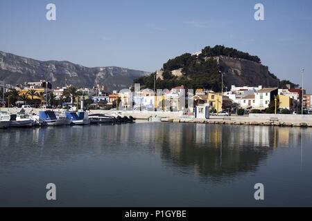 SPAIN - Valencia autonomous region - Marina Alta (district) - Alicante. Denia; puerto, pueblo y castillo. - Stock Photo
