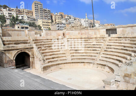 Small roman amphitheater in Amman, Al-Qasr site, Jordan. - Stock Photo