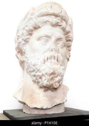Marcus Aurelius (Mark Aurele inperator from 161-180 JC) marble bust, Amman, Jordan, isolated on white - Stock Photo