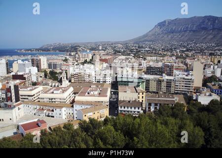 SPAIN - Valencia autonomous region - Marina Alta (district) - Alicante. Denia; vista a ciudad y puerto desde el Castillo (II). - Stock Photo
