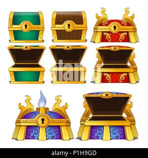Set of closed and opened colored chests isolated on white background. Vector cartoon close-up illustration. - Stock Photo