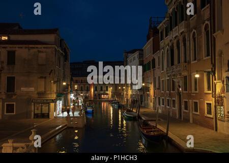 View down Fondamenta Condulmer as seen from Ponte dei Tolentini, Venice, Italy. - Stock Photo
