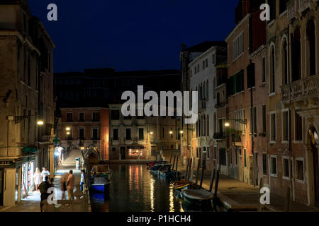 View down Fondamenta Condulmer as seen from Ponte dei Tolentini, Venice, Italy. - Stock Photo