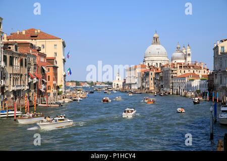 View from the Ponte dell'Accademia looking down the Grand Canal towards Basilica di Santa Maria della Salute. - Stock Photo
