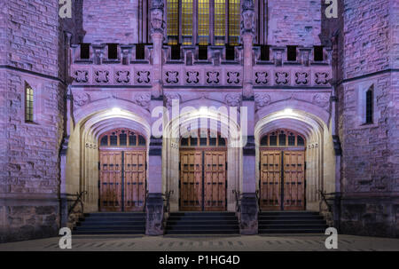 The entrance to the Bonython Hall is majestic, particularly at night with the coloured lights. - Stock Photo
