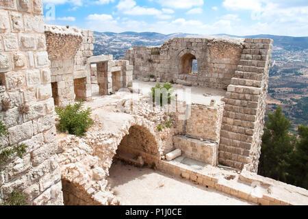Inside of Ajloun fortress. Arab and crusaders fort. Jordan. - Stock Photo