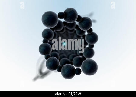 Rotating molecules. 3d illustration of a molecule - Stock Photo