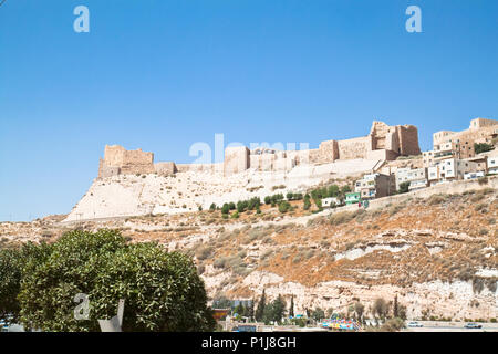 The Crusader fortress of Karak ( Kerak) - the outer walls seen from east side. Jordan. - Stock Photo