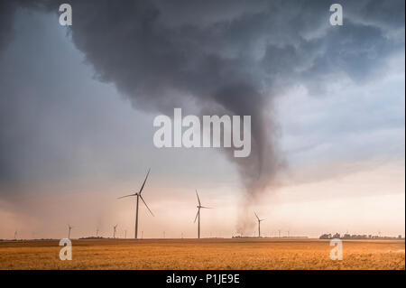 Tornado in a wind farm over the fields of Rago, Kingman County, Kansas, USA on May 19th 2012 - Stock Photo