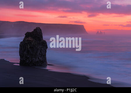 Dawn on the beach at Reynisfjara, Vik, Iceland - Stock Photo