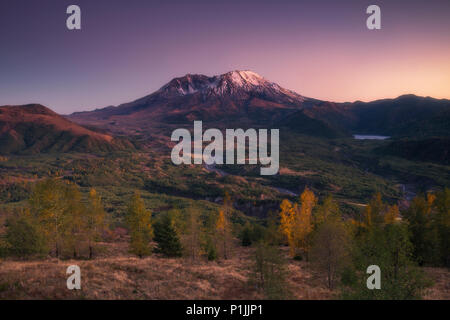 Mount Saint Helens with crater (caldera) at sunset in Washington, USA - Stock Photo