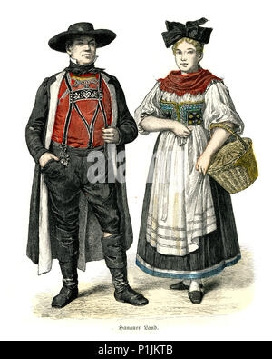 Vintage engraving of History of Fashion, Costumes of Germany, Hanauerland, Baden, 19th Century. - Stock Photo