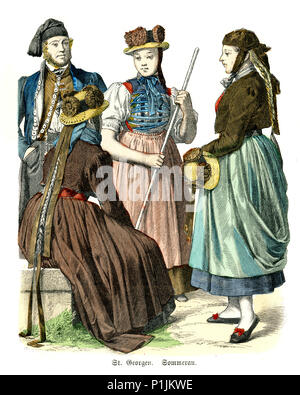 Vintage engraving of History of Fashion, Costumes of Germany, Baden, St. Georgen im Schwarzwald 19th Century. - Stock Photo