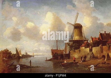 Leickert  Charles Henri Joseph - Canal Scene 2 - Summer - Stock Photo
