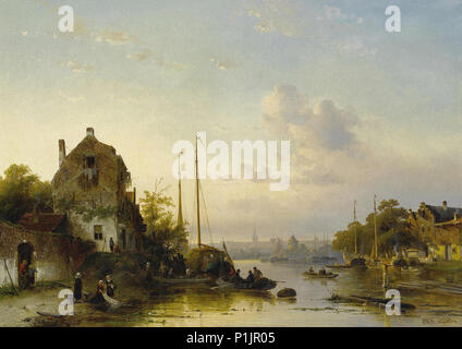 Leickert  Charles Henri Joseph - Dutch River Landscape at Sunset - Stock Photo