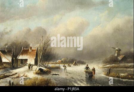 Leickert  Charles Henri Joseph - Dutch Winter Landscape - Stock Photo