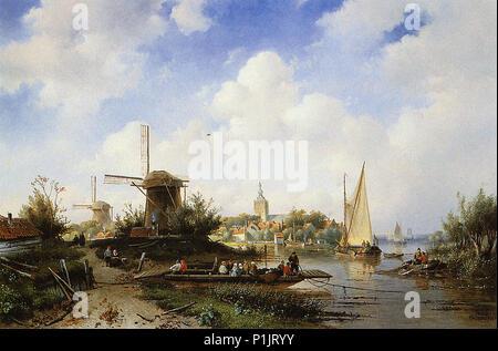 Leickert  Charles Henri Joseph - River Scene - Stock Photo