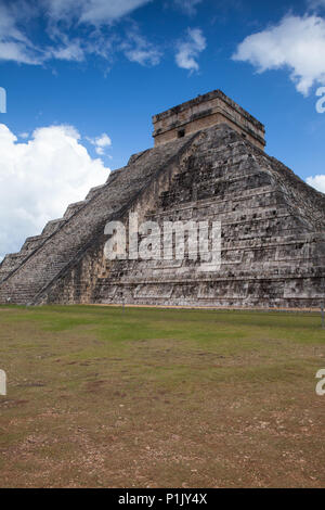 Majestic ruins in Chichen Itza,Mexico.Chichen Itza is a complex of Mayan ruins. A massive step pyramid, known as El Castillo or Temple of Kukulcan, do - Stock Photo