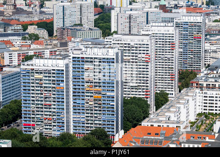 View of  Berlin with high rise apartment buildings , Mitte, Berlin, Germany - Stock Photo
