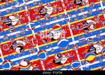 Flags  of Swaziland, behind a glass covered with rain drops.Pattern from flags of Swaziland - Stock Photo