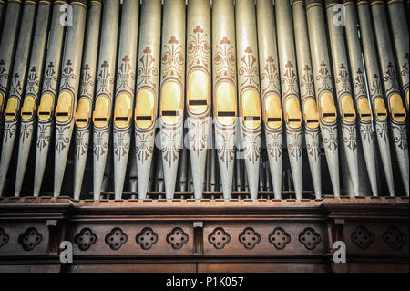 organ pipes in church - Stock Photo