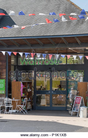 Looking towards Waitrose supermarket store front, Ringwood, Hampshire, England, UK - Stock Photo