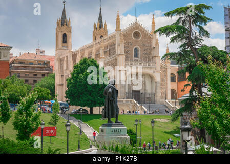 San Jeronimo El Real Madrid, view of the early 16th century church of San Jeronimo El Real that overlooks the Prado Museum in Madrid, Spain. - Stock Photo