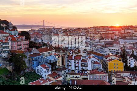Lisbon historic city at sunset, Portugal - Stock Photo