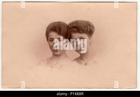 BERLIN, GERMANY - CIRCA 1930s: Vintage photo shows women (studio portrait). Photography with dreamy and romantic variation. - Stock Photo