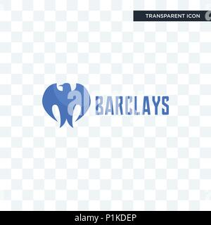 barclays bank vector icon isolated on transparent background, barclays bank logo concept - Stock Photo