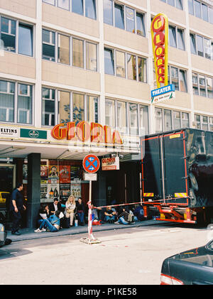 Muse fans waiting outside the Gloria Theater Cologne, 7th September 2003, Europe, Germany. - Stock Photo