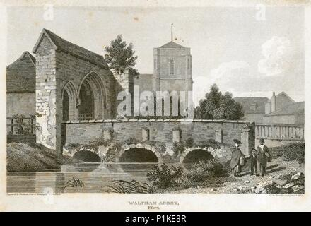 Bridge and gatehouse of Waltham Abbey, Essex, 1800. View showing the church tower and other buildings in the background. From the Mayson Beeton Collec - Stock Photo