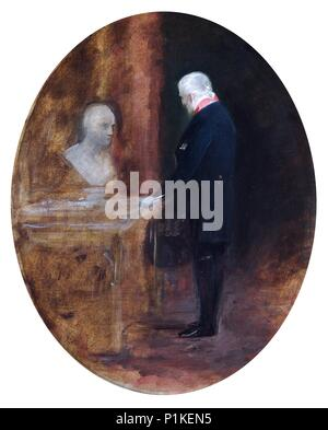 'The Duke of Wellington looking at bust of Napoleon', 19th century. Painting in Apsley House, London. - Stock Photo