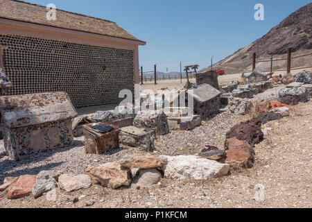 Ghost town of Rhyolite in Nevada, NV, USA - Stock Photo