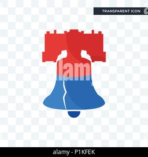 liberty bell vector icon isolated on transparent background, liberty bell logo concept - Stock Photo