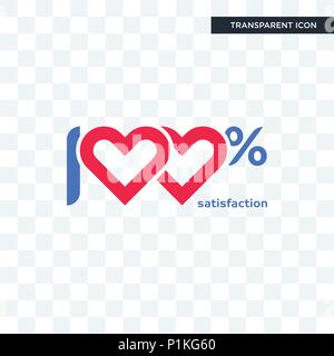 100 satisfaction vector icon isolated on transparent background, 100 satisfaction logo concept - Stock Photo