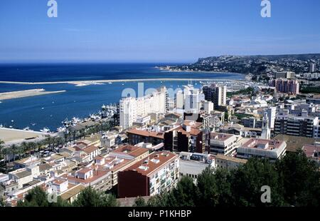Denia, view to the town and coast from the castle. - Stock Photo